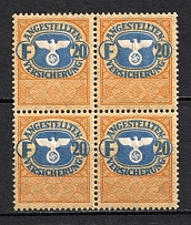 `20` Employee Insurance Revenue Stamps, Germany (Block of Four, MNH)