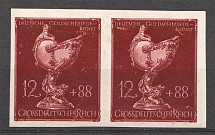 1944 Germany Third Reich 12+88 Pair (Imperforated, CV $400, Signed, MNH)