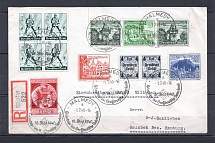 1940 Third Reich multi franking registered cover to Hamburg with special postmark Malmedy