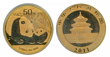 PRC 2011, Panda, 50 yuan, 1/10 oz gold coin, certified by PCGS, MS69