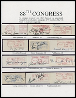 AUTOGRAPHS OF FAMOUS PEOPLE FROM FRANK M. RUDON COLLECTION - MEMBERS OF THE 88TH UNITED STATES CONGRESS (JANUARY 1963-JANUARY 1965), serving within the last year of the administration of President John F. Kennedy, 90 autographs