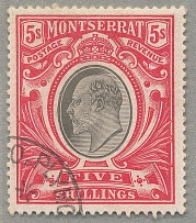 1903, 5 s., black and scarlet, cancel PLYMOUTH, wmk CC, perf. 14, VF! Estimate 2