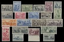 1933, Ethnographic issue, 1k-35k, complete set of 21, premium centering and