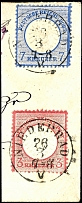 7 Kr. Large shield in the small stamp format L15, along with 3 Kr. Large