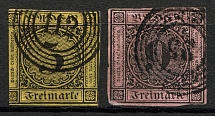 1851-52 Baden Germany (CV $70, Cancelled)