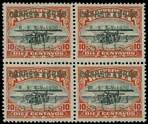 Bolivia 1930, Zeppelin issue, bronze ink surcharge 5c/10c, block of four, NH/LH