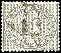 10 Gr. Dark gray, fresh stamp with brilliant colours with stroke of pen