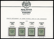 MALAYAN STATES - PAHANG: 1891, Queen Victoria, black surcharges ''Pahang. 2 cents'' on Straits Settlements of 24c green, complete set of four different surcharge types, arranged on a piece from a Collection