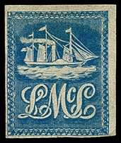 1847, Lady McLeod (5 cents) blue, fresh colour and close to large margins,