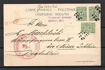 Mute Postmark of Ostrov of the Warsaw Province, Advertising Postcard, Pharmacy, Censorship Ostrov #1 (Ostrov, Levin #544.01)