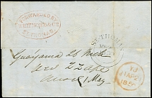 PUERTO RICO - GREAT BRITAIN: 1850, Entire letter from Guayama with red oval