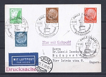1938 Third Reich airmail cover Hale -through Vienna - Budapest with special postmark