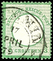 1 / 3 Gr. Gray green, color-typical stamp with better horseshoe cancel