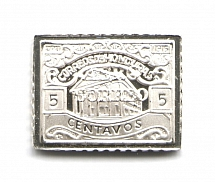 1925 Honduras 5 C (Sterling Silver Miniature, Greatest Stamps of The World)