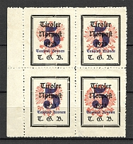 1921 Tyrol Austria Local Post Block of Four (Different Size of Eagle)
