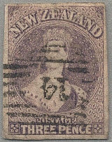 1863, 3 d., brown lilac, imperforated, used with numeral 14/Nelson, good to very