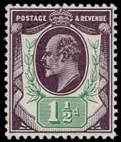 1905, King Edward VII, 1½p blackish purple and green, De La Rue printing of much darker shade then even deep purple, full OG, NH