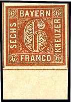 6 kreuzer dark brown orange, plate 3, on all sides with enormous margins and