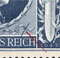 1943 8pf Third Reich, Germany (Mi. 846 II, Stroke on the Ribbon, Print Error, Control Number `15,00`, Corner Margins, Pair, CV $170, MNH)
