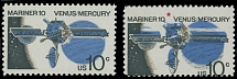 1975, Mariner 10, Venus and Mercury, 10c multicolored, two singles, one has red color omitted