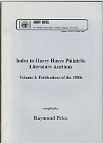 Literature Index to Harry Hayes Philatelic Literature 1980 pubs - useful to valu