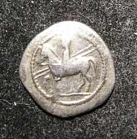 Ancient Greece Thessaly Perrhaiboi 450-400 BCE AR Trihemiobol coin BCD 548.1v F+