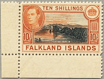 1938, 10 s., black and orange brown, bottom left margin piece, wmk Mult Script C