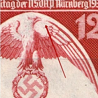 1935 12pf Third Reich, Germany (Mi. 587 I, Missed Hatching on Wing, Print Error, Signed, CV $90, MNH)