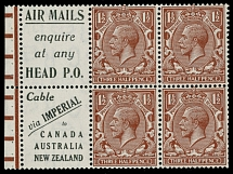 1924, King George V, 1½p red brown, inverted watermark Block Cypher, booklet pane of four stamps and two printed labels at left, full OG