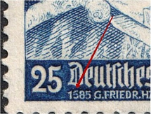1935 25pf Third Reich, Germany (Mi. 575 I, `1585` instead `1685`, Print Error, Pair, Signed, CV $90, MNH)