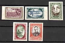 1932 Latvia (CV $50, Imperf, Full Set)