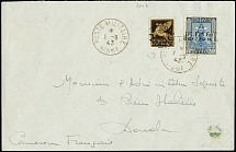 Airmail 50c. with additional franking tied by cds.