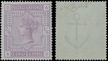 1883, Queen Victoria, 2s6p lilac, printed on bluish paper, watermark Anchor, nice quality single