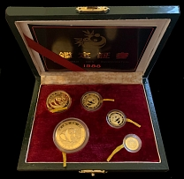 PRC 1988(P), Panda, 5y-100y, set of 5 proof gold coins, AGW 1.95 oz