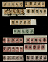 Ukraine - Trident Overprints, KYIV: 1918, litho ovpt, type 3, 127 stamps, strips