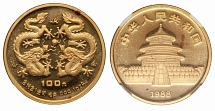 PRC 1988, Year of the Dragon, 100 yuan, proof gold coin of 1 oz, NGC certified