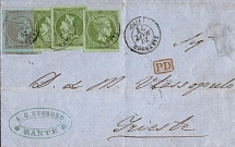 1874, 3 x 5 l. yellow green & 40 l. dull grey mauve/blue, on folded letter,