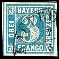 3 kreuzer Prussian-blue, plate 1, with enormous margins and having bright