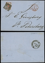 Poland, 1865, folded letter from Warsaw to St. Petersburg, franked by 10k