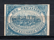 `Wells Fargo & Co` California Paid Newspaper Stamp, USA, Local