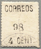 1898, Spanish Outpost/La Union, 4 c., black, used, with white paper, serrated