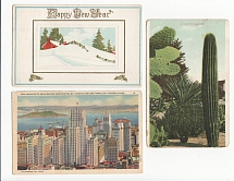 1910, 1915, 1936 USSR. Lot of three international mail (postcards). US - Moscow.