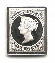 1865 Vancouver Island (Sterling Silver Miniature, Greatest Stamps of The World)