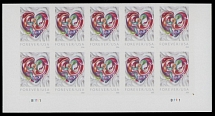 United States, 2016, Love, (49c), self-adhesive stamp with die cutting omitted