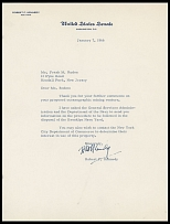 AUTOGRAPHS OF FAMOUS PEOPLE FROM FRANK M. RUDON COLLECTION - ROBERT F. KENNEDY (1925-1968), younger brother of the 35th President of the United States John F. Kennedy, former U.S. Attorney General, U.S. Senator