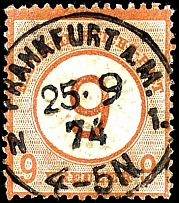 9 on 9 Kr. Brown orange, having bright colors, except for a shortened tooth