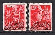 1945 Third Reich Last Issue, Germany (Mi. 909-910, Full Set, Canceled, CV $3,100)