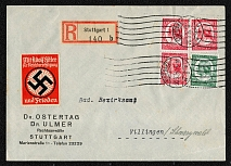 1935 Registered cover from Postamt Stuttgart with Propaganda label