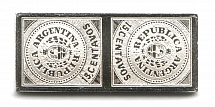 1862 Argentina 15 C (Sterling Silver Miniature, Greatest Stamps of The World)