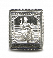 1896-1904 Trinidad 1 P (Sterling Silver Miniature, Greatest Stamps of The World)